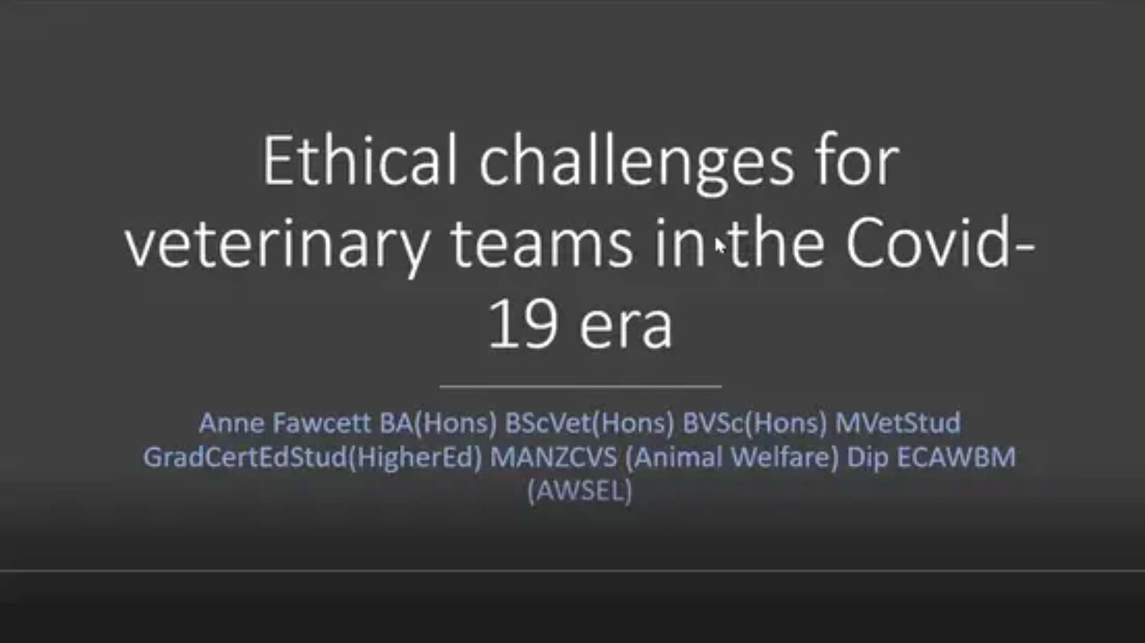Ethical Challenges for Veterinary Teams in the COVID-19 Era
