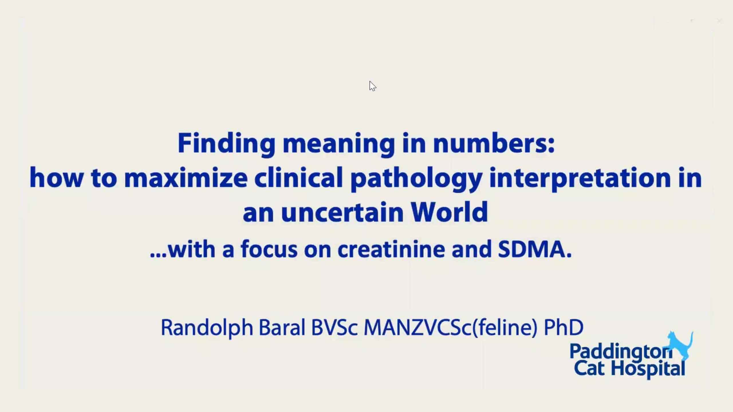 Finding meaning in numbers: SDMA and creatinine WebinarLIVE!
